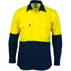 DNC HiVis Cool-Breeze Vertical Vented Cotton Shirt-LONG SLEEVE