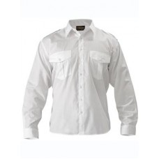 BISLEY Mens Epaulette Shirt - Long Sleeve