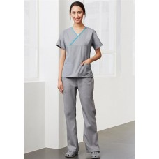BIZ Ladies Contrast Crossover Scrubs Top